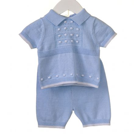 Boys Pointelle and Spot Collared Top Set